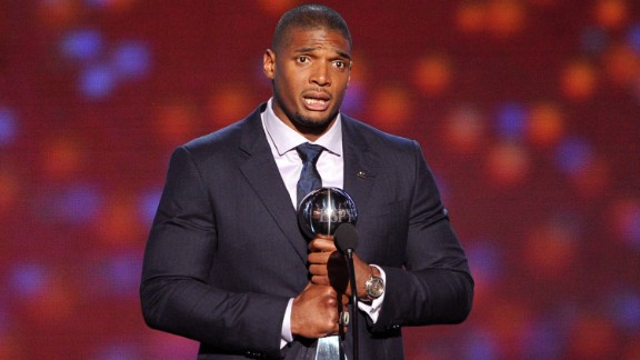 """Sam accepts the Arthur Ashe Courage Award during the 2014 ESPYs on July 16. """"Great things can happen when you have the courage to be yourself,"""" Sam said while accepting the award, which is given to those who have shown strength in the face of adversity and stood up for their beliefs."""