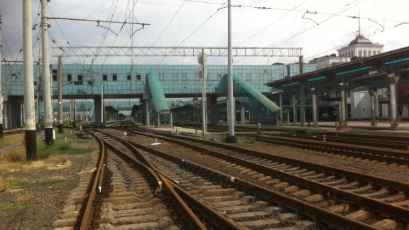 The deserted railway station at Donetsk on September 2, 2014. A street market at the station was hit by shells during the previous weekend.