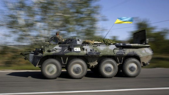 A Ukrainian military vehicle patrols in the Donetsk region on September 3.