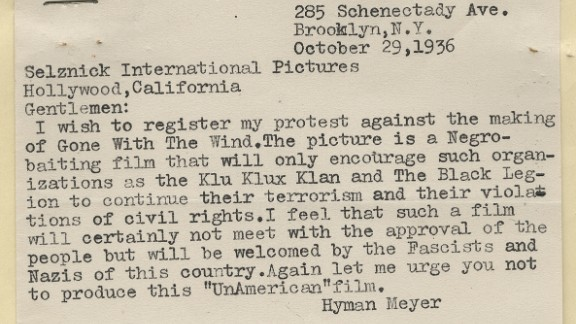 """An October 1936 letter from a Brooklyn, New York, man urged Selznick not to make """"a Negro-baiting film"""" that would encourage groups such as the Ku Klux Klan. The depiction of African-Americans and treatment of Reconstruction in the novel made the film production controversial from the beginning. Selznick wanted to remain faithful to the book, but he dropped the N-word from the movie's script as well as references to the Klan."""