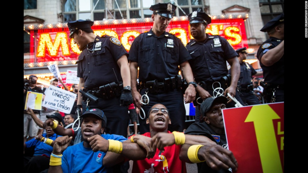 Protesters block traffic near Times Square in New York on September 4.