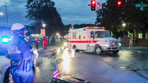 The ambulance transporting Dr. Rick Sacra, 51, who was infected with Ebola while serving as an obstetrician in Liberia, arrives to the Nebraska Medical Center in Omaha, Neb., Friday, Sept. 5, 2014.