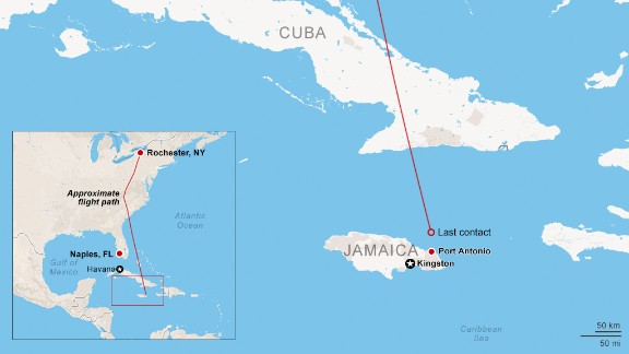 Map: Plane crash off Jamaican coast