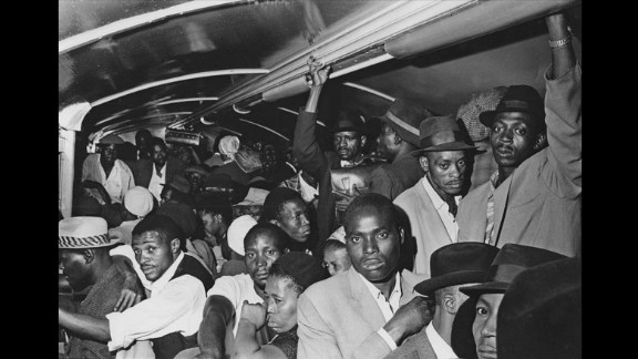 """""""All stand packed together on the floors and seats."""" —House of Bondage, 1967 (According to Struan Robertson, a photojournalist and a friend of Cole's, tsotsis [thugs or street criminals] used the extreme crowding on black trains to rob passengers, especially on payday.)"""