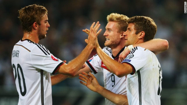 Thomas Mueller scored in Germany's 2-1 victory over Scotland.