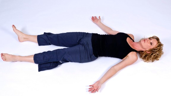 Relax overworked neck, jaw, upper-back, chest and shoulder muscles with savasana, or corpse pose, at the end of your practice.