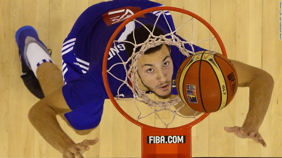 French center Joffrey Lauvergne eyes the ball during a FIBA World Cup game against Spain on Wednesday, September 3.