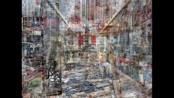 """In his """"Concrete Abstract"""" series, Israeli photographer <a href=""""http://www.shaikremer.com/"""" target=""""_blank"""" target=""""_blank"""">Shai Kremer</a> overlays multiple photographs that he took of the World Trade Center site from 2011-2013. Each final work includes hundreds of digital images or pieces of images."""
