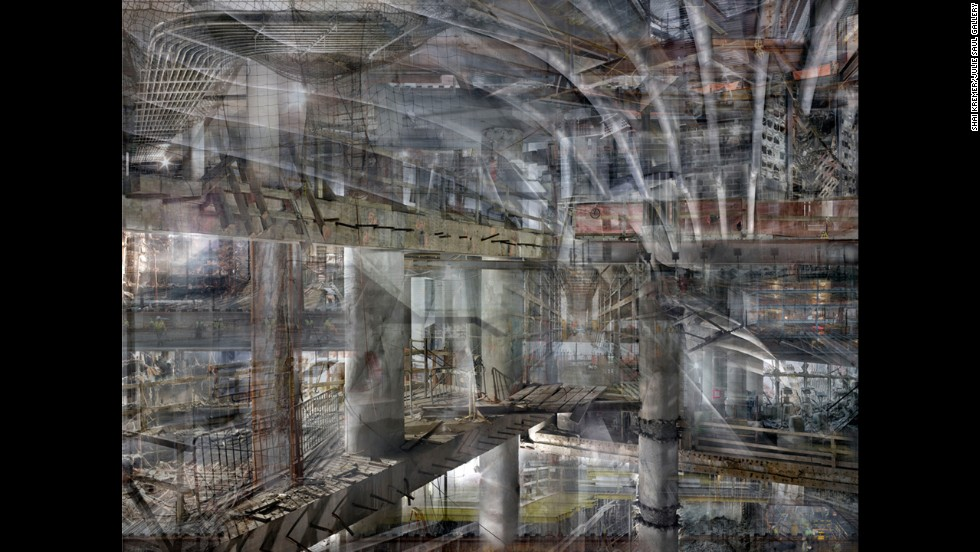 "This abstract is inspired by etchings from 18th-century Italian artist Piranesi. ""It translates my feeling of walking inside all the undergrounds throughout the site,"" Kremer said."