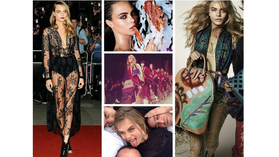 "<strong>2. Cara Delevingne, Model</strong><br /><a href=""http://instagram.com/caradelevingne"" target=""_blank""><strong>Instagram</strong></a><strong> followers:</strong> 6,769,595<br /><a href=""https://twitter.com/Caradelevingne"" target=""_blank""><strong>Twitter</strong></a><strong> followers: </strong>1,830,000<br /><strong>Credits:</strong> Dolce and Gabbana, Oscar de la Renta, Burberr<br /><strong>Posts: </strong>Cross-eyed smiles, red carpet looks and bacon, lots and lots of bacon."
