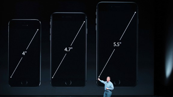Schiller talks about the new iPhones. The iPhones have curved edges and bigger screens that measure 4.7 inches and 5.5 inches, up from just four inches on the iPhone 5S.