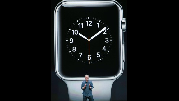 Cook discusses the Apple Watch, the company's first wearable device.