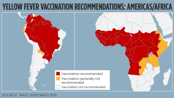 Yellow fever vaccination recommendations: Source WHO 2013/2011