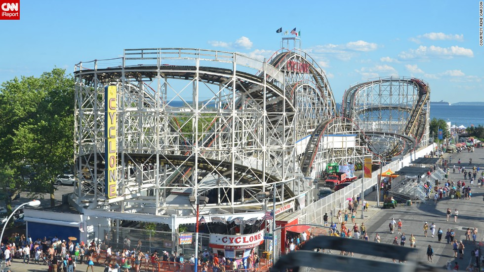 "<a href=""http://ireport.cnn.com/docs/DOC-831726"">Coney Island's Cyclone </a>roller coaster first debuted in <a href=""http://lunaparknyc.com/attractions/cyclone/"" target=""_blank"">June 1927</a>. The roller coaster continues to operate within Luna Park, another amusement park bustling in Coney Island. The original <a href=""http://lunaparknyc.com/about/history/"" target=""_blank"">Luna Park</a> opened in 1903."