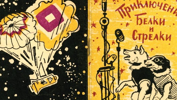 """Belka and Strelka became national celebrities on landing, and a range of memorabilia was produced as a result. Illustrated by Yuri Galperin, """"The Adventures of Belka and Strelka"""" was a childrens' book, released in 1961."""