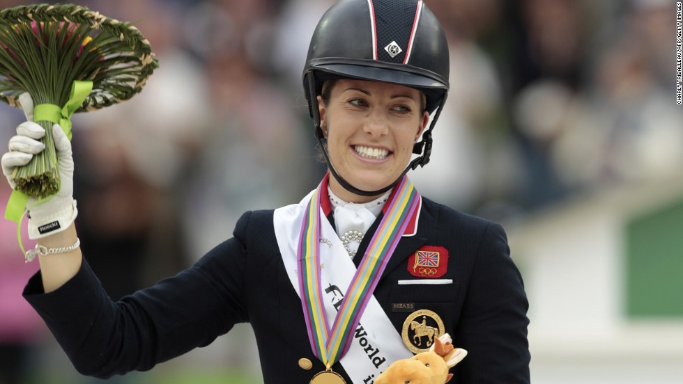 British rider Charlotte Dujardin continued her reign as the golden girl of dressage, winning both individual titles at the World Equestrian Games in France.