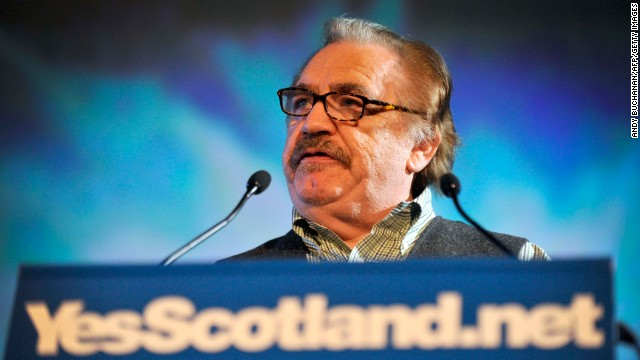 "Brian Cox speaks at the launch of the ""Yes"" campaign for Scottish independence in 2012."