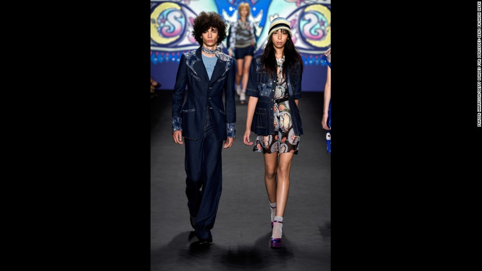 Anna Sui debuted his-and-hers hippie designs on September 10.