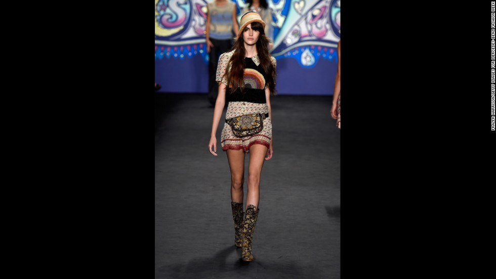 Anna Sui layered a rainbow-crocheted sweater vest with a bohemian dress during her spring show.