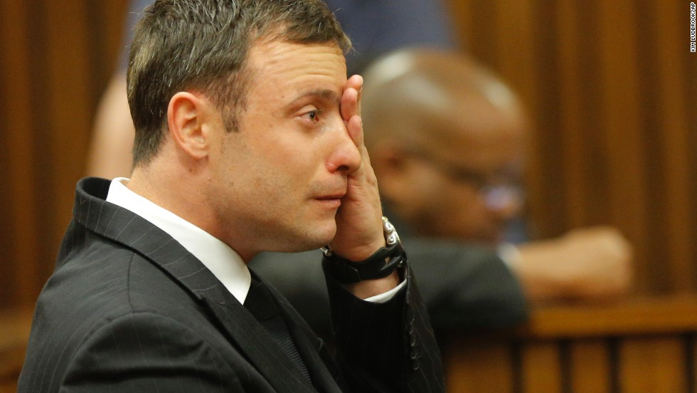 Pistorius cries on the stand in Pretoria on Thursday, September 11, as the judge reads notes while delivering her verdict.