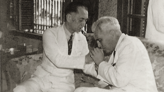 The Philippines' first president, Manuel Quezon and U.S. High Commissioner to the Philippines, Paul McNutt, devised a strategy to grant visas to European Jews, who were fleeing the Holocaust. The photo shows the pair in 1938.