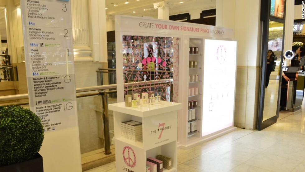 "7 Virtues stand in Selfridges department store, London, ahead of September launch of ""Patchouli of Rwanda""."