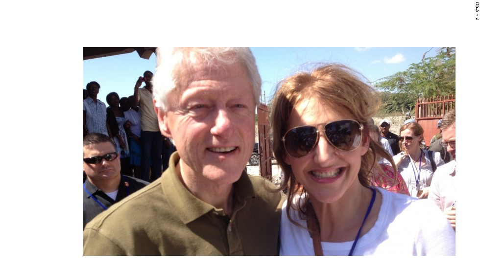 Stegemann and President Bill Clinton on a development trip to Haiti.