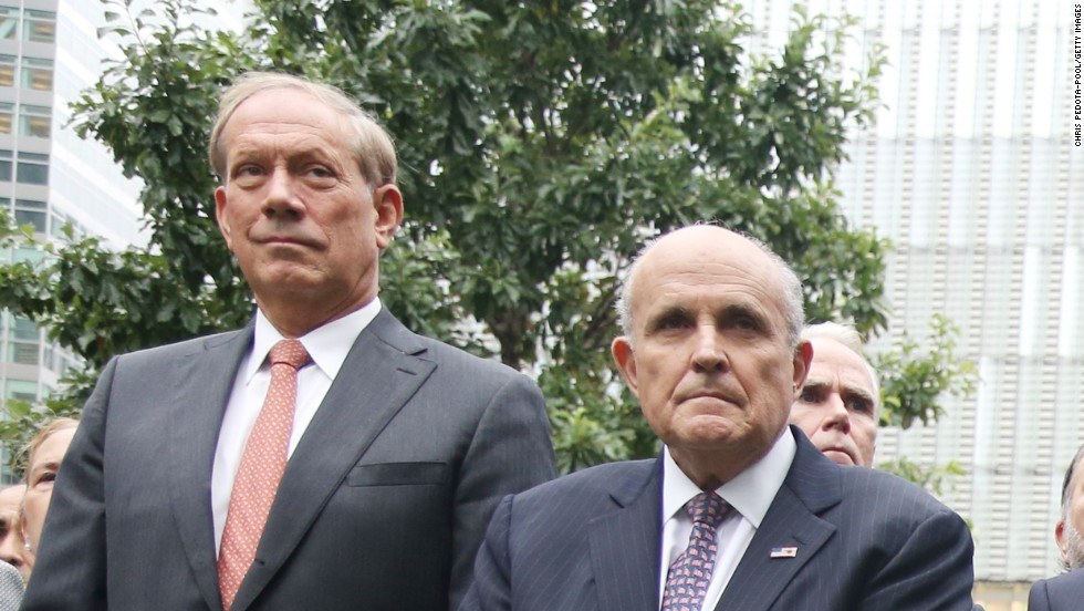 Former New York Gov. George Pataki, left, and former New York City Mayor Rudy Guiliani were among those in attendance at the World Trade Center.