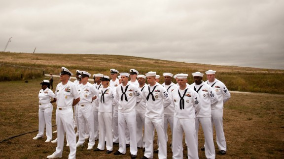 A group from the U.S. Navy gathers Thursday, September 11, at the Flight 93 National Memorial in Shanksville, Pennsylvania. This year marks the 13th anniversary of the September 11 terrorist attacks that killed nearly 3,000 people in New York, Washington and western Pennsylvania.
