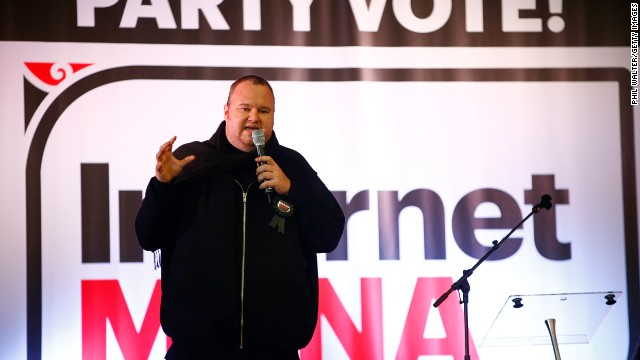 Internet Party founder, Kim Dotcom speaks at the Kelston Community Centre on July 20 in Auckland, New Zealand.