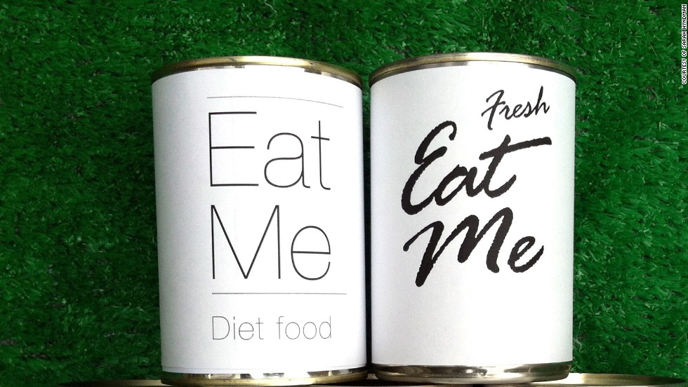 The connection between fonts and foods, she says, is not as crazy as it sounds. Consider your reaction to these different cans. What does each choice of font tell you about what they might contain?