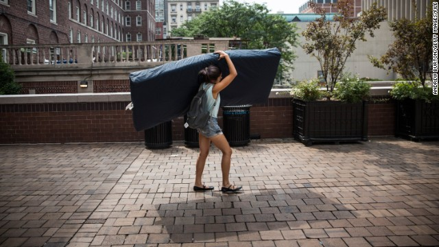 Columbia University student Emma Sulkowicz started carrying a mattress around campus in 2014 as part of her senior thesis to protest the school's handling of her rape claim.