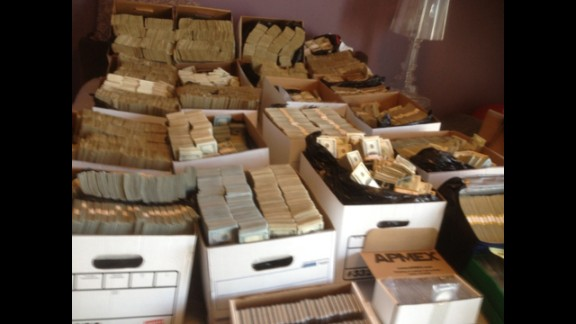 Cash seized during a federal raid of cartels