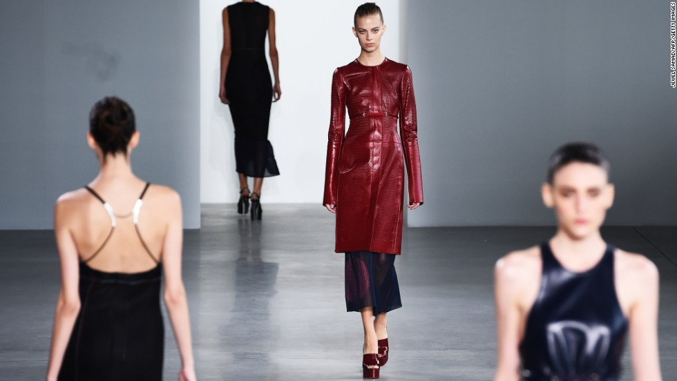 The Calvin Klein collection included a laser-cut, red leather coat in an elongated silhouette.