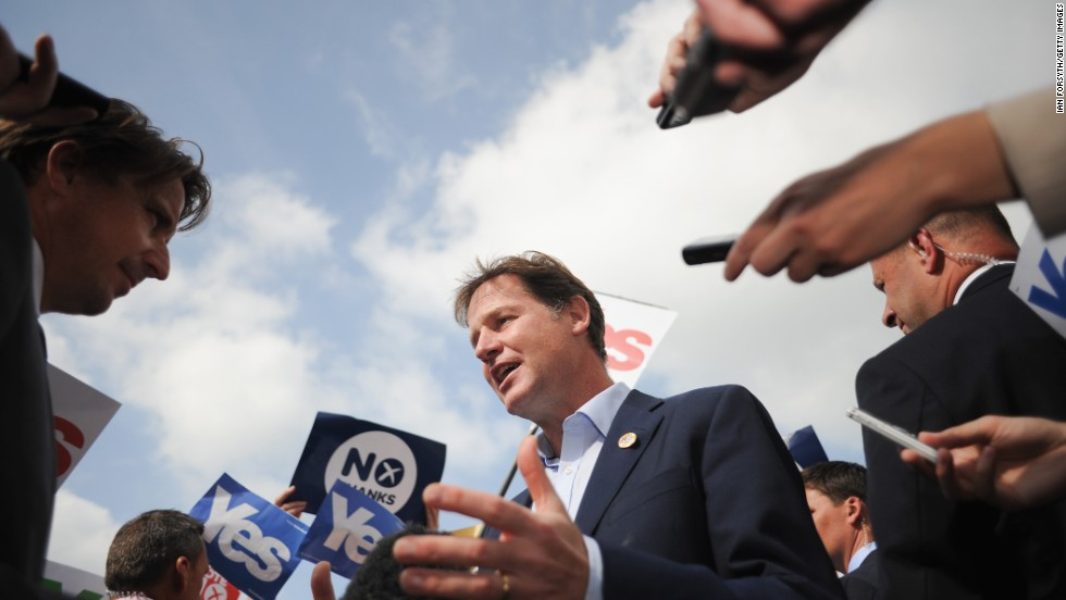 "British Deputy Prime Minister Nick Clegg speaks to members of the media in Selkirk, Scotland, on Wednesday, September 10. He and British Prime Minister David Cameron were in Scotland to make the case for voting ""no"" to independence."