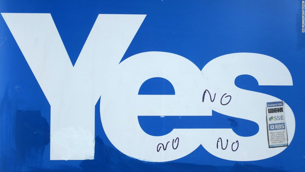"""No"" is written on a ""yes"" campaign placard in Selkirk on September 10."
