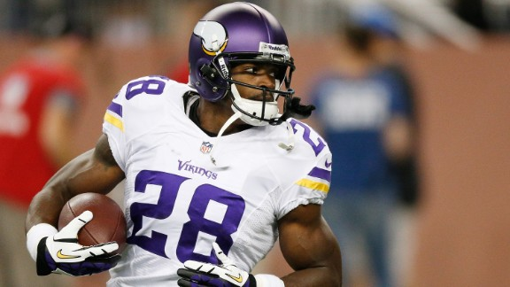 DETROIT, MI - SEPTEMBER 08: Adrian Peterson #28 of the Minnesota Vikings runs the ball during pre game prior to playing the Detroit Lions at Ford Field on September 8, 2013 in Detroit, Michigan. (Photo by Gregory Shamus/Getty Images)