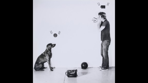 """""""Ball and Ball Call"""" (1971) depicts Wegman and his first pet Weimaraner, Man Ray."""