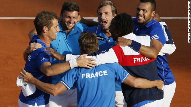 The French Davis Cup team celebrate victory over the Czech Republic at Roland Garros on Saturday.