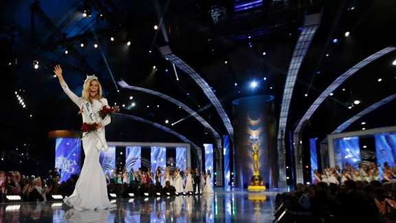 Miss America 2015 Kira Kazantsev walks the runway after being crowned during the Miss America pageant in Atlantic City, New Jersey, on Sunday, September 14.