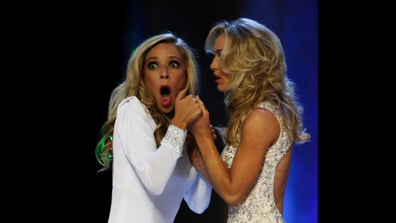 Kazantsev, left, gasps after she is named Miss America.