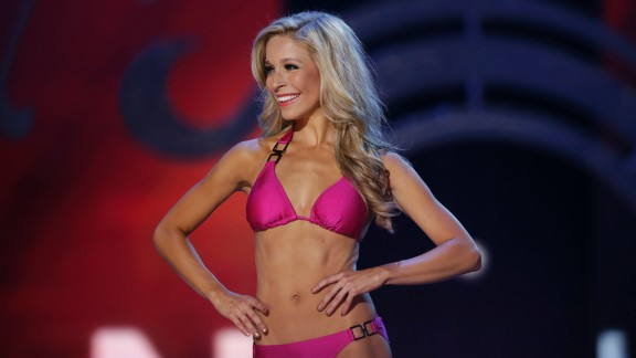 Kazantsev displays her swimsuit during the pageant.