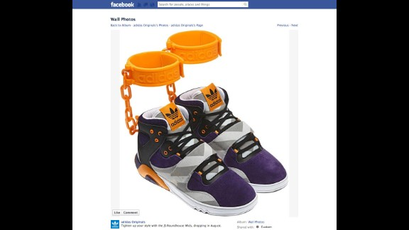 "After advertising the shoe on its Facebook page in June 2012, sports apparel maker Adidas withdrew its plans to sell a controversial sneaker featuring affixed rubber shackles. ""The design of the JS Roundhouse Mid is nothing more than the designer Jeremy Scott"