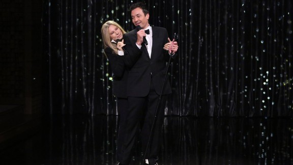 """Barbra Streisand and host Jimmy Fallon sing a duet Monday on """"The Tonight Show With Jimmy Fallon."""""""