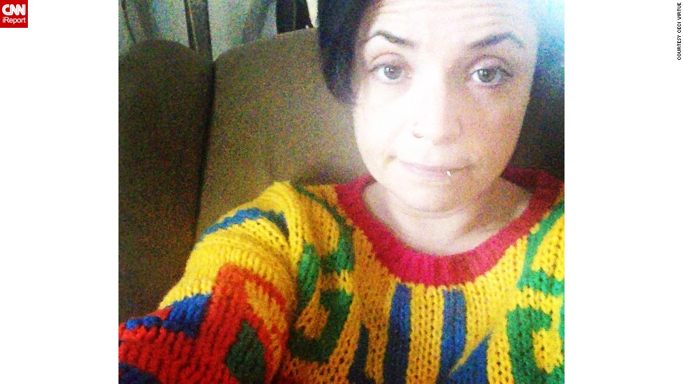 "<a href=""http://instagram.com/p/sf4OlDrYiK"" target=""_blank"">Ceci Virtue </a>finds that her Cosby sweater is a source of comfort. ""Whenever I'm feeling miserable, I put on my favorite jumper,"" she posted on Instagram. ""Everyone hates it, but I absolutely adore it!"""