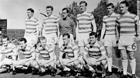 The Celtic team line up before their European Cup Final match against Inter Milan in Lisbon.