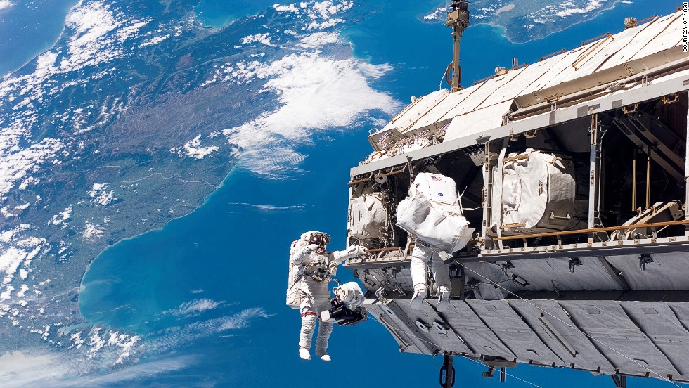 Astronauts conduct extravehicular activity on the International Space Station.