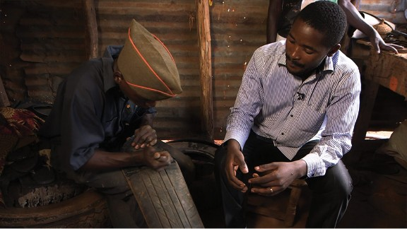 Innocent Byaruhanga is the founder of Pamoja Center -- a Ugandan startup  working with former street children to produce sustainable shoes out of disused tires.