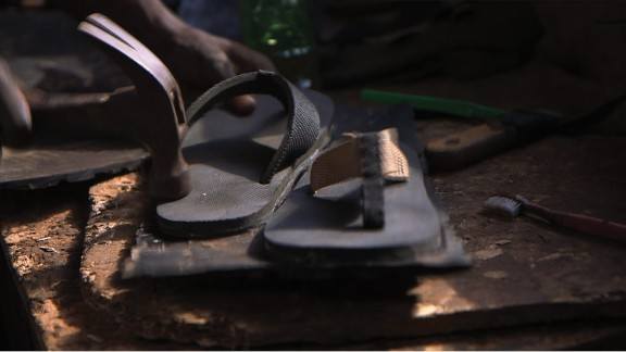 """As well as providing hope for a better future for underprivileged Ugandan youth, Byaruhanga also hopes the sustainable shoes will help protect the environment by repurposing """"trash"""" like old tires. He says that Pamoja"""