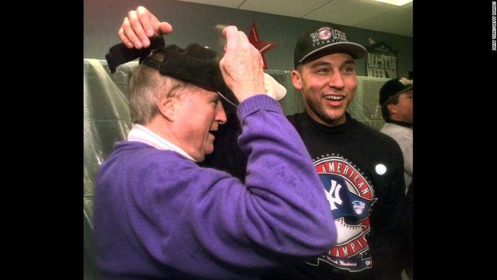 Jeter with Yankees owner George Steinbrenner in October 1999 after the Yankees won the American League pennant and advanced to their second straight World Series.